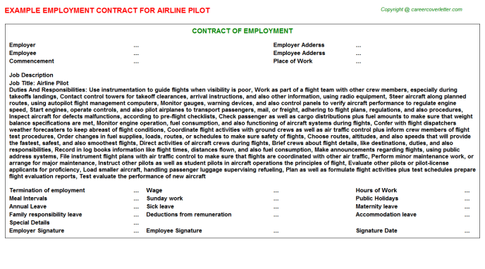 Airline Pilot Employment Contract Template