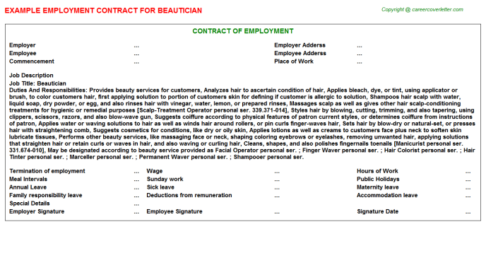 Beautician Employment Contract Template