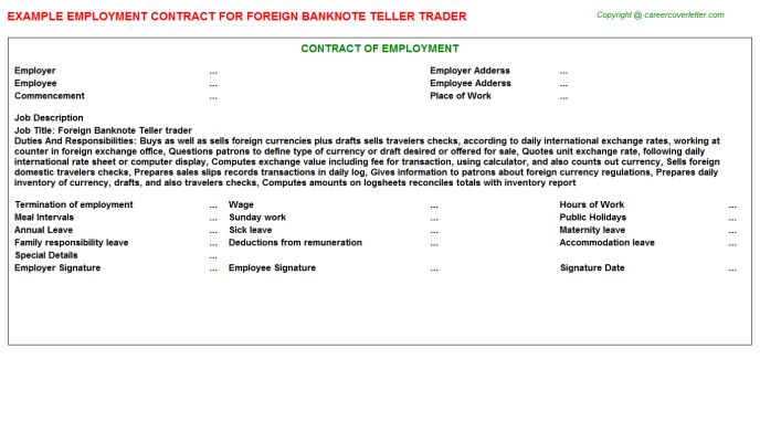 foreign banknote teller trader employment contract template