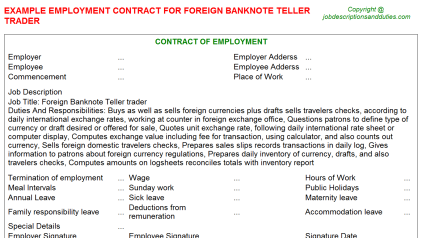 Foreign Banknote Teller trader Job Employment Contract Template