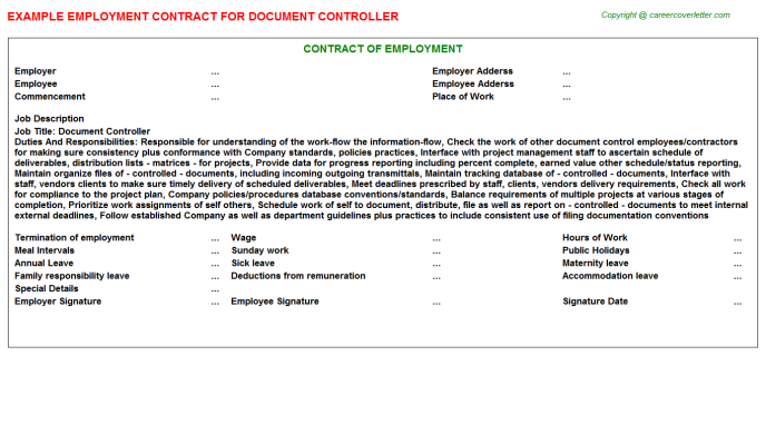 Document Controller Employment Contract Template