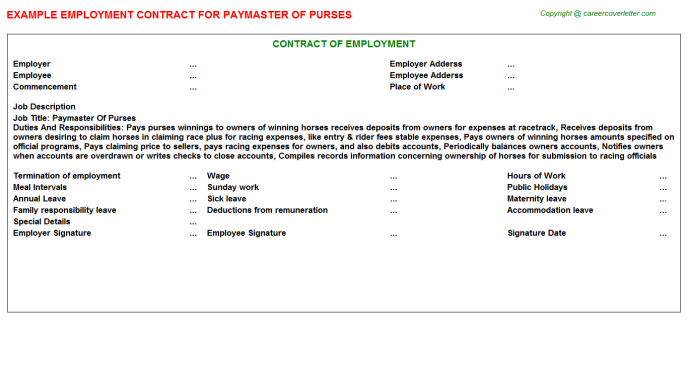 paymaster of purses employment contract template