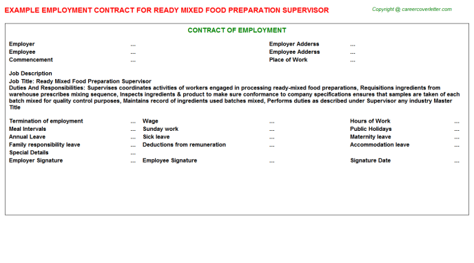ready mixed food preparation supervisor employment contract template