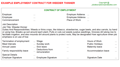 Weeder thinner Job Employment Contract Template