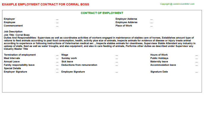 Corral Boss Employment Contract Template