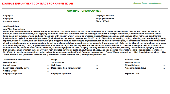 Cosmetician Employment Contract Template
