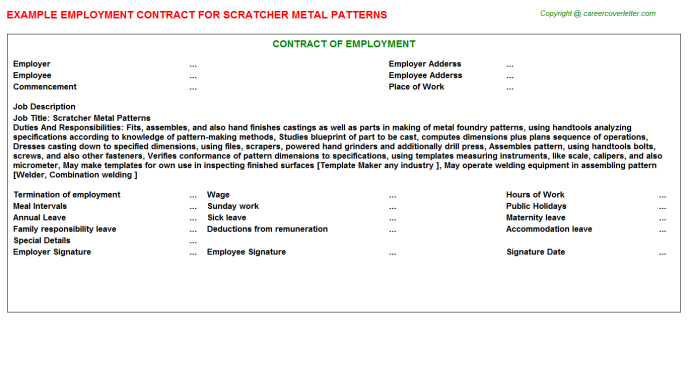 scratcher metal patterns employment contract template