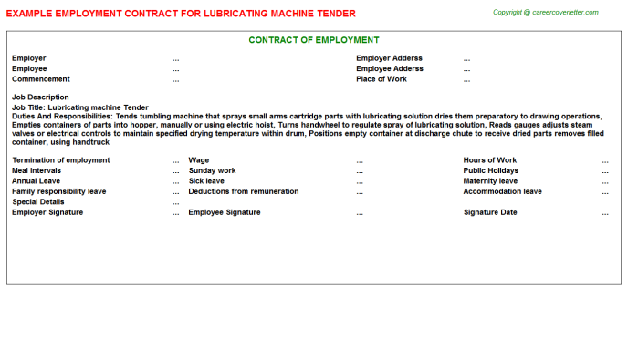 lubricating machine tender employment contract template