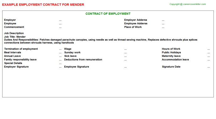 Mender Job Employment Contract Template