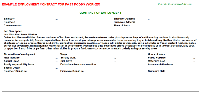 fast foods worker employment contract template