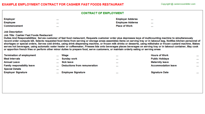 cashier fast foods restaurant employment contract template