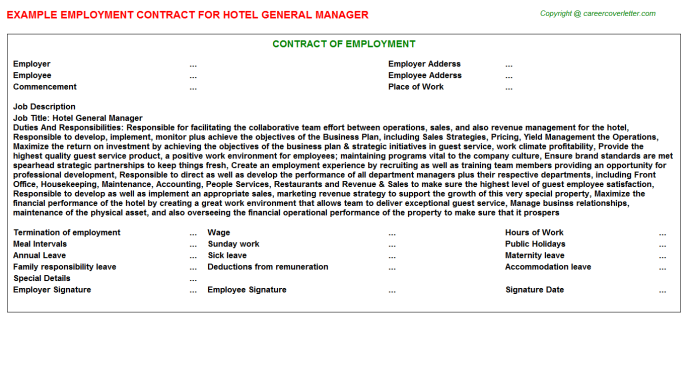 Hotel General Manager Employment Contract Template
