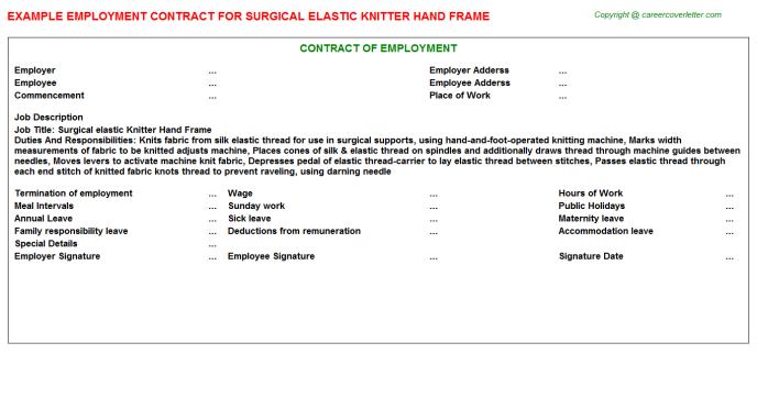 Surgical elastic Knitter Hand Frame Employment Contract Template