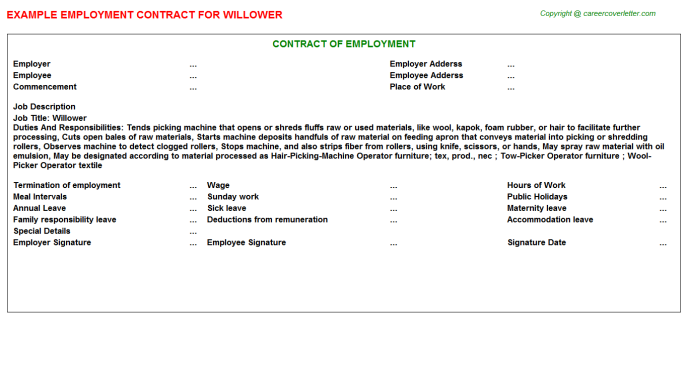 Willower Job Employment Contract Template