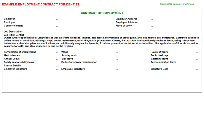 Dentist Employment Contract Template