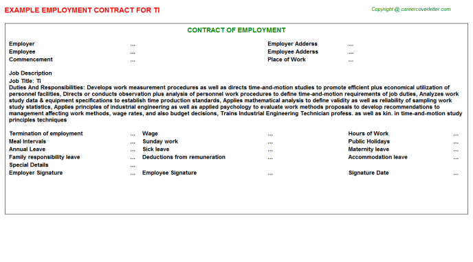 Ti Employment Contract Template