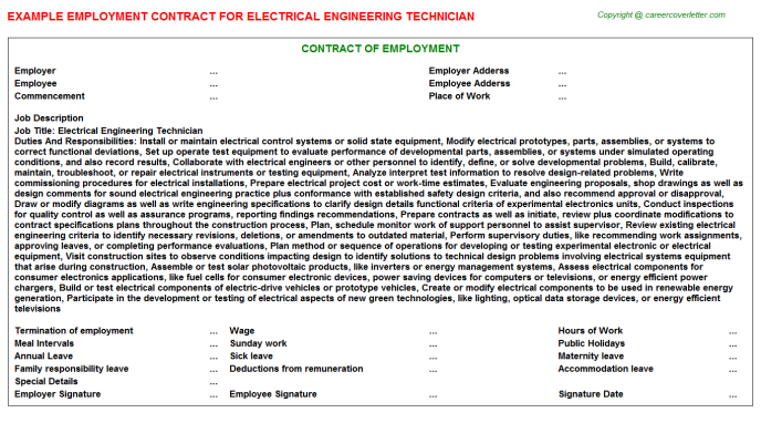Electrical Engineering Technician Employment Contract Template