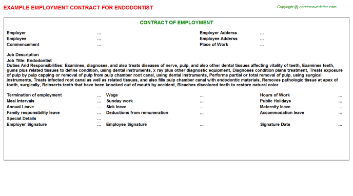 Endodontist Employment Contract Template