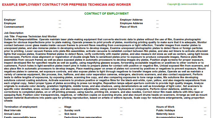 Prepress Technician And Worker Employment Contract Template