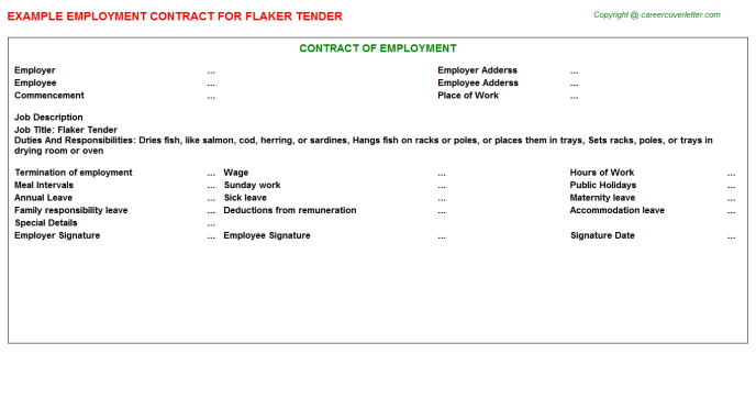 Flaker Tender Employment Contract Template