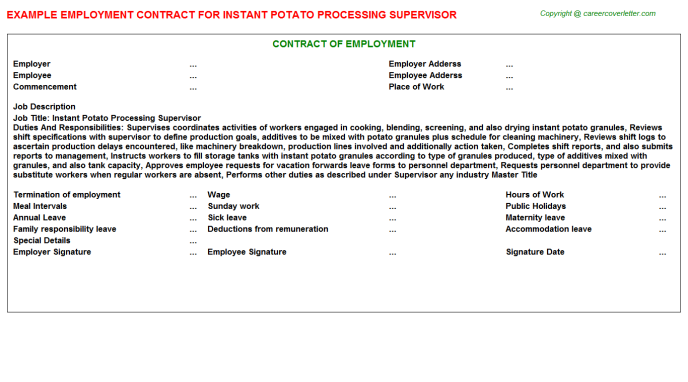 instant potato processing supervisor employment contract template