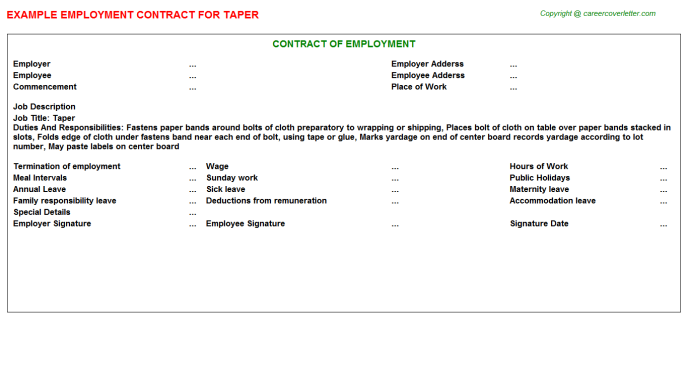 Taper Job Employment Contract Template
