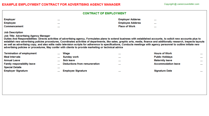 Advertising Agency Manager Employment Contract Template