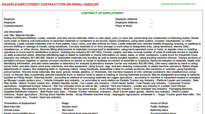 Material Handler Employment Contract Template