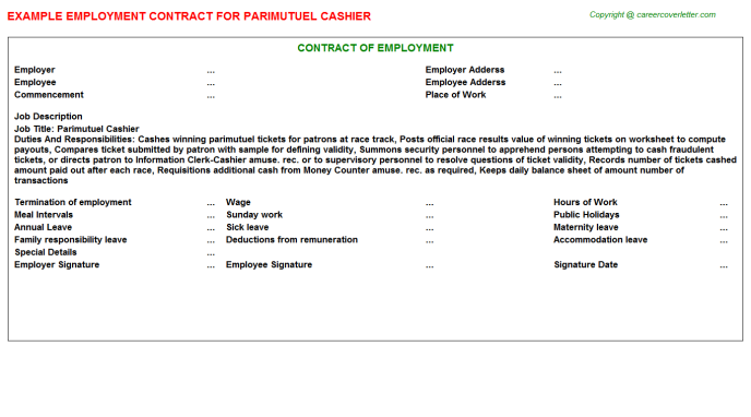 parimutuel cashier employment contract template