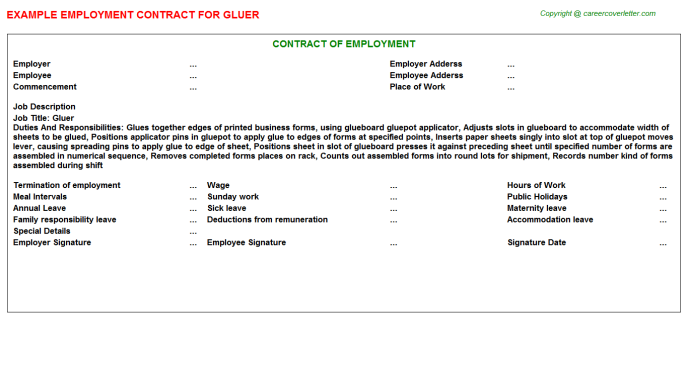 Gluer Employment Contract Template