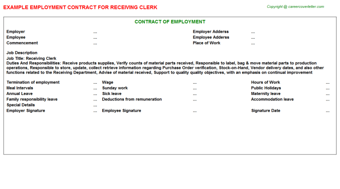 Receiving Clerk Job Employment Contract Template