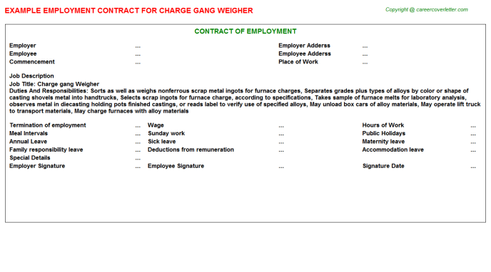 Charge gang Weigher Employment Contract
