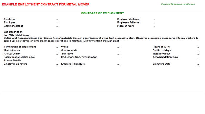 Metal Mover Job Employment Contract Template