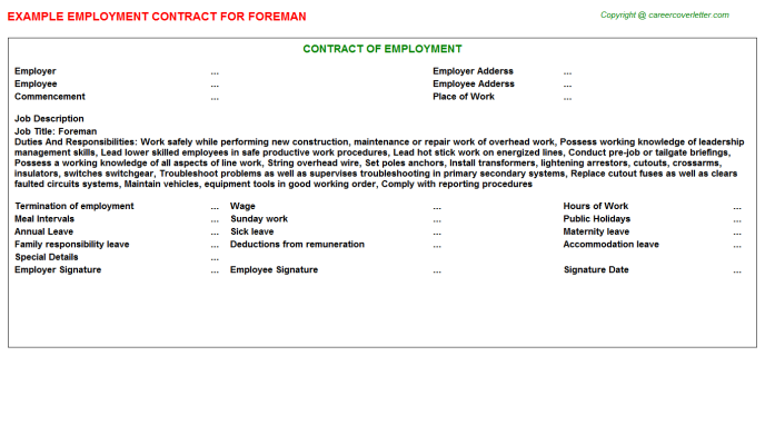 Foreman Job Employment Contract Template
