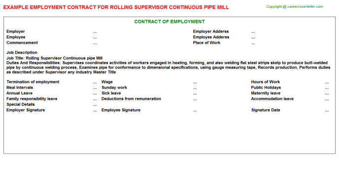 Rolling Supervisor Continuous Pipe Mill Employment Contract Template