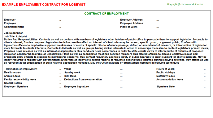 Lobbyist Job Employment Contract Template