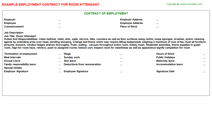 Room Attendant Employment Contract Template