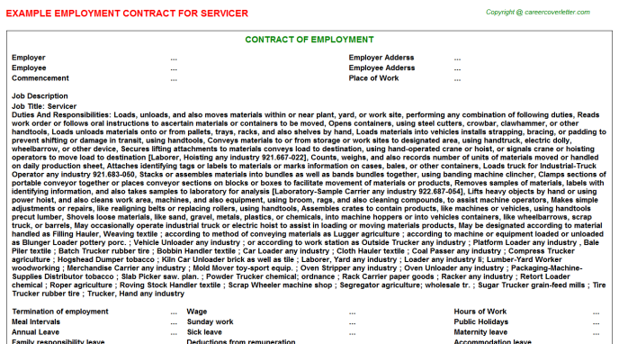 Servicer Employment Contract Template