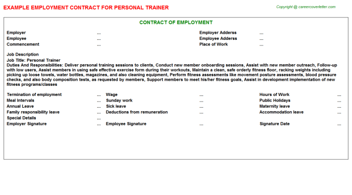 Personal Trainer Employment Contract Template