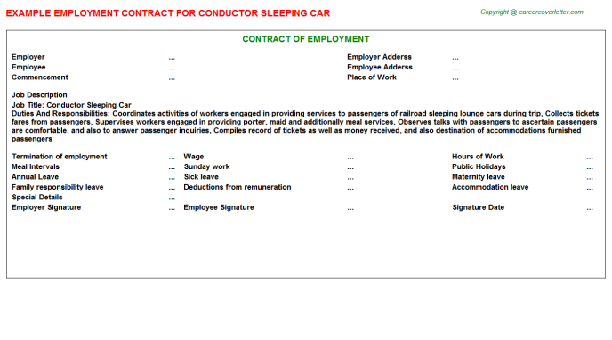 Conductor Sleeping Car Employment Contract Template