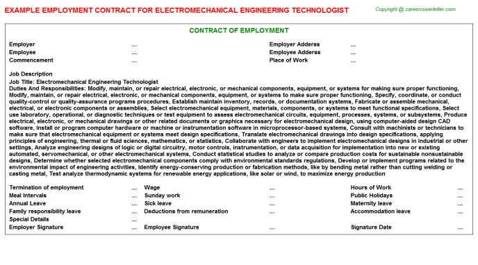 Electromechanical Engineering Technologist Job Employment Contract Template