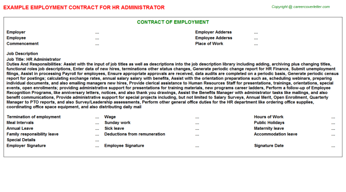HR Administrator Employment Contract Template