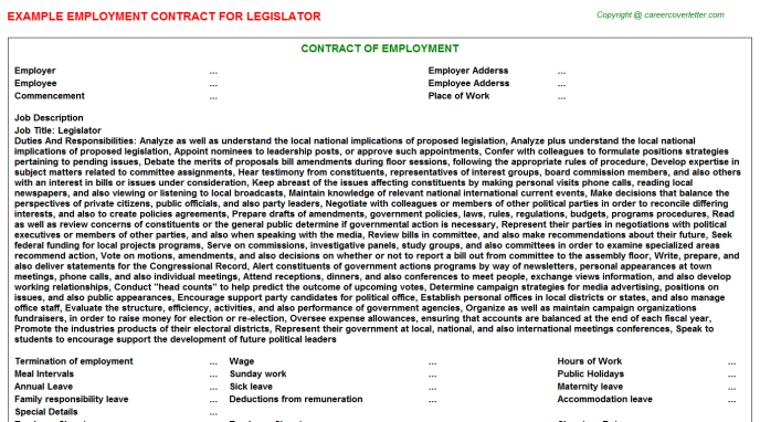 Legislator Employment Contract Template