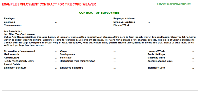 Tire Cord Weaver Employment Contract Template