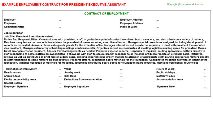 president executive assistant employment contract template