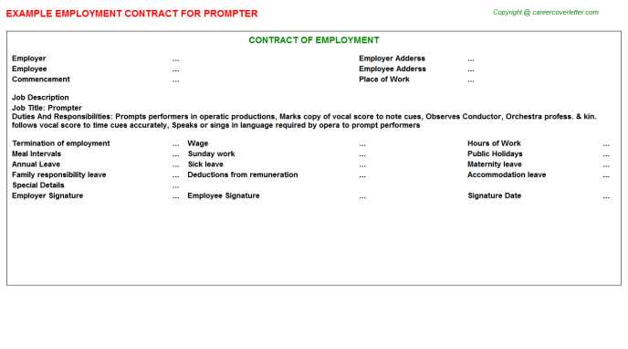 Prompter Employment Contract Template