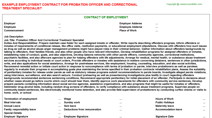 probation officer and correctional treatment specialist employment contract template