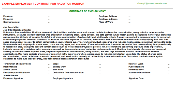 Radiation Monitor Employment Contract Template