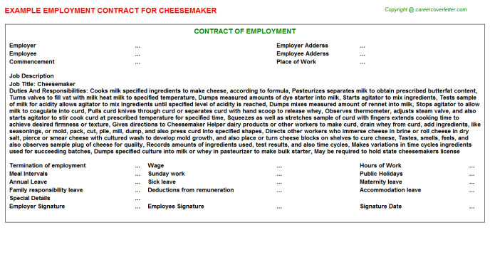 Cheesemaker Employment Contract Template
