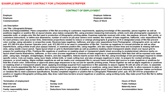LithographicStripper Employment Contract Template